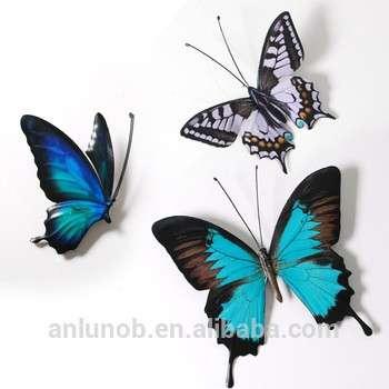 家居装饰3D翅膀蝴蝶金属墙艺术工艺蝴蝶壁挂艺术