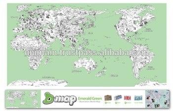 装饰世界地图贴纸插画世界着色地图设计你的世界地图