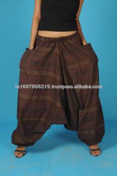 男式灯笼裤宽松裤连身裤精灵渔夫男子瑜伽博霍吉普赛印度妇女Brown Loose的裤子