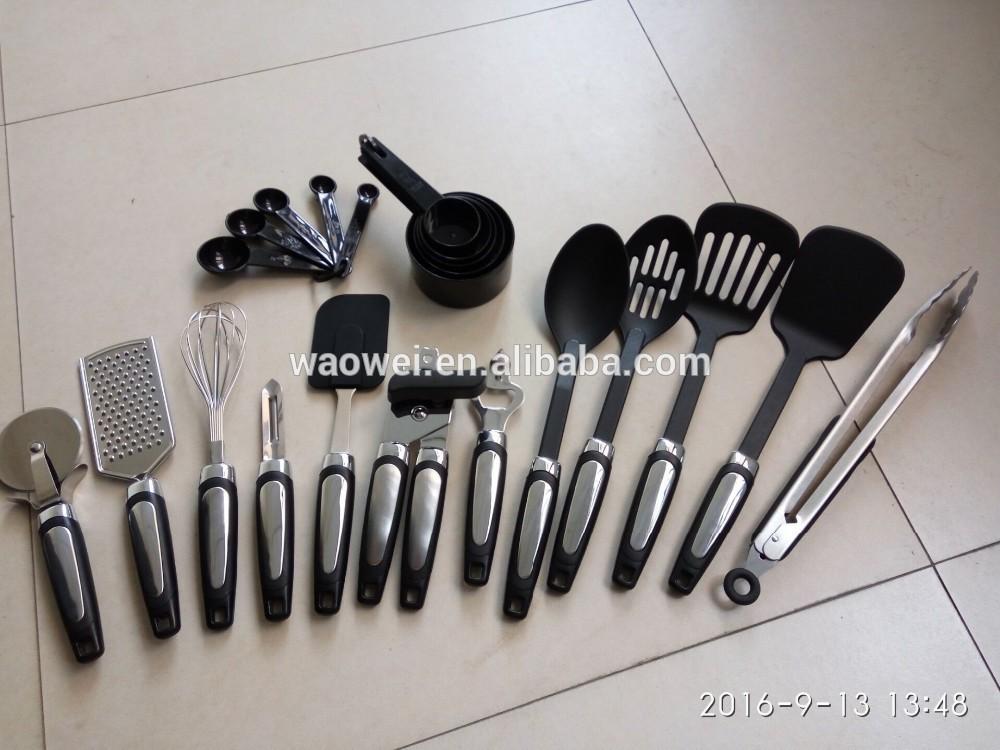 22件套厨房用具-家庭烹饪工具-不锈钢和放大器,尼龙器具