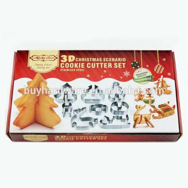 批发不锈钢烘烤工具饼干模具8个人电脑三维圣诞饼干切割机