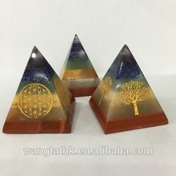 批发7石脉轮雕刻金字塔