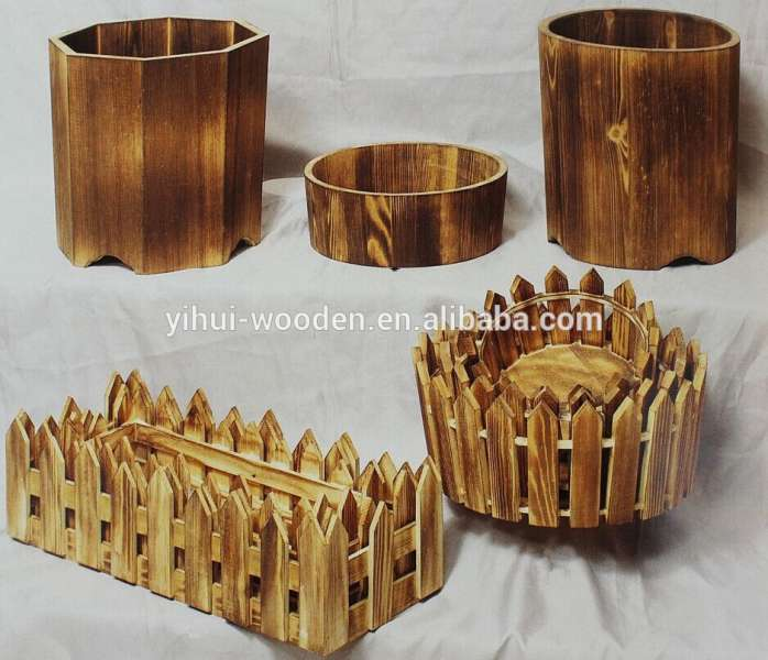 Outdoor Rectangular Wooden Planter Flower Pot Planter Box Wholesale