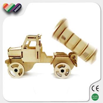 新型三维汽车拼图木制太阳能电动玩具