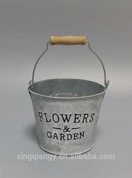 金属花桶浮雕木柄白色洗涤桶