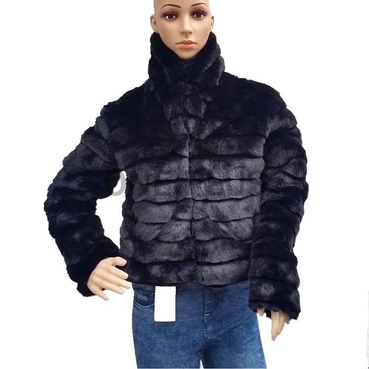 221b90be96efe Short Faux Rex Rabbit Fur Coat Men Black Winter Fur Jacket With Fox ...