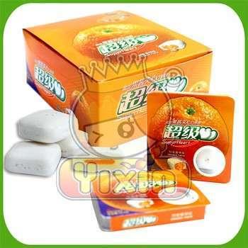 Orange flavor crispy center filling bubble gum factory