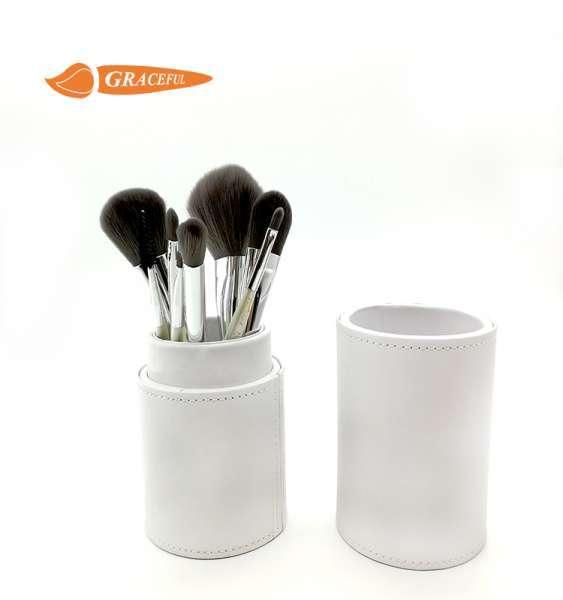 美容专业珍珠白8Ps定制标志化妆刷与PU管组