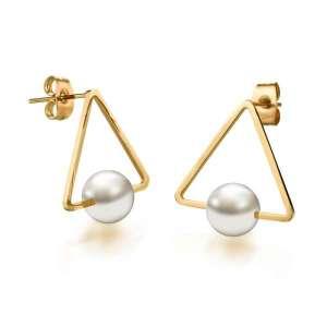 Golden Stainless Steel Triangle Pearl Earrings