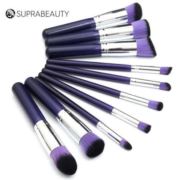 10 Pieces Synthetic Hair Professional Makeup Brush Set