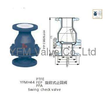 FEP lined Flange type H44 Swing check valve Like