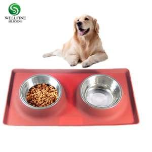 可拆卸不锈钢狗碗没有泄漏的防滑硅胶垫53盎司12oz馈线碗宠物碗狗猫和宠物