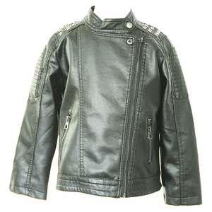 af2ffdd924 Kids Fashion Rivet Oblique Zipper Boys Black Biker Faux Leather Jacket Coat