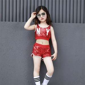 e26507b89 Jazz Dance Costume For Girls Sequin Tops Girl Hip Hop Suit Street Dance  Clothing Stage Performance Wear