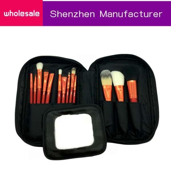 专业13件木制手柄软合成头发定制化妆刷套袋