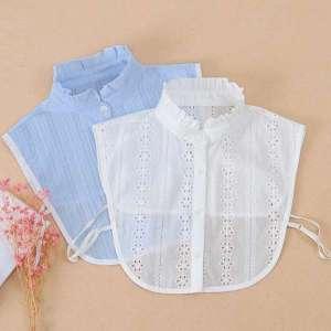 Fashion Ruffle Stand False Collar Shirt Floral Hollow Fake Collar Ladies White Detachable Shirt Collar Women Clothes Accessories