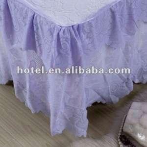 带刺绣的星级酒店浅紫色床裙