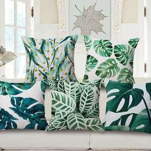 棉麻热带雨林叶仙人掌印花枕垫汽车坐垫