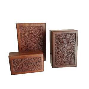 PY03 - Carved wooden urn boxes - Dark Cherry