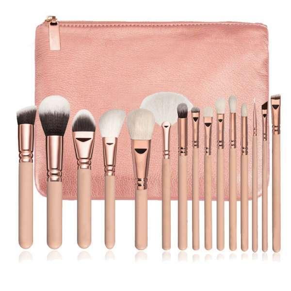 热销售专业个人标签15PCS粉红化妆刷套装