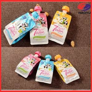 Custom cartoon design stand up squeeze spout pouch for baby food/jelly/juice/soup