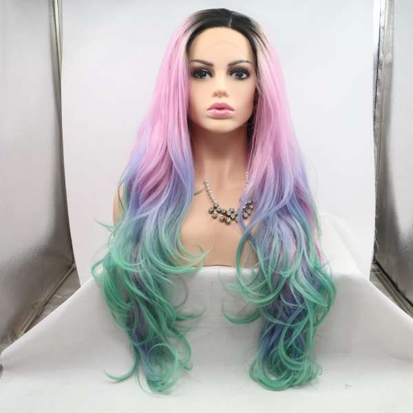 Fashion AOHAI synthetic OMBRE PINK COLORFUL wig 24 INCH BALAYAGE COLOR