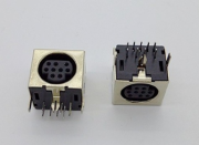 Circle DIN connector 4P, socket, vertical with shield
