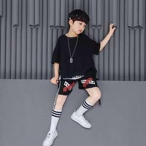 儿童和039岁穿嘻哈表演服装男孩夏日短袖表演套装