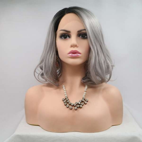 "Most popular cheap price large stock ash 12"" wave synthetic lace front bob wig"