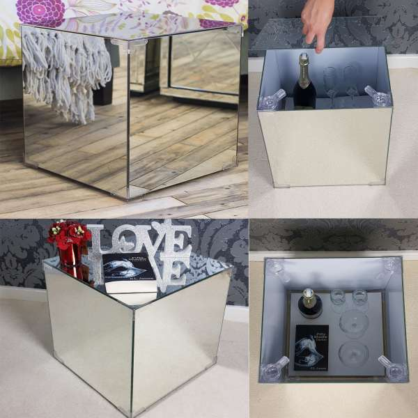 Bedside Table Side Table Mirrored Glass Silver Mirror Furniture Modern  Style With Storage
