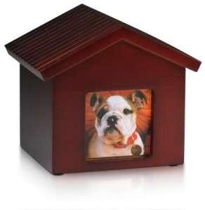 PY20 Dog House Urn - Photo Frame Urns Box - Birch Wood - Cherry Finish