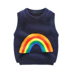 Baby cotton knitting vest boy spring autumn leisure children 's clothing round neck sweater children' s rainbow sweater vest
