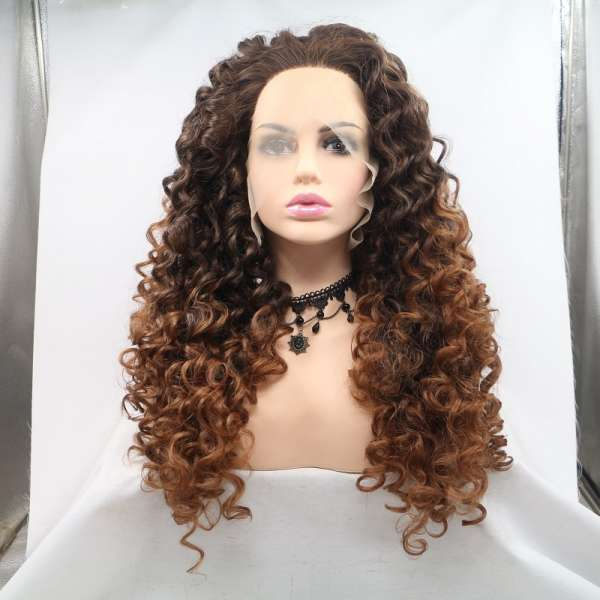 "Most popular cheap price large stock ombre brown 24"" curly synthetic lace front wigs for black women"