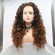 """most popular cheap price large stock ombre brown 24"""" curly synthetic lace front  wigs for black women"""