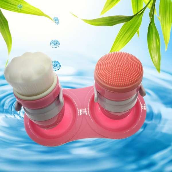 2PCS面部护肤美容超音波洁面刷SPA洗面按摩洗脸洗脸刷套