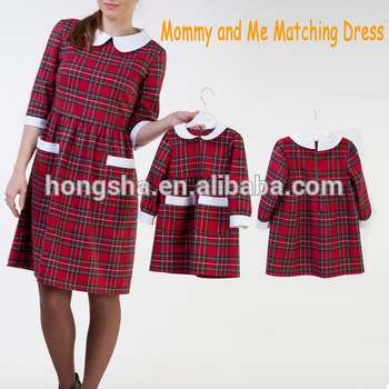 2017 cute christmas party mother and daughter matching dress mommy and me plaid dress kids cotton