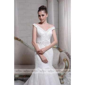 Knightly Bridal in wedding dress Lace V-Neckline Mermaid Sheath Gown Like