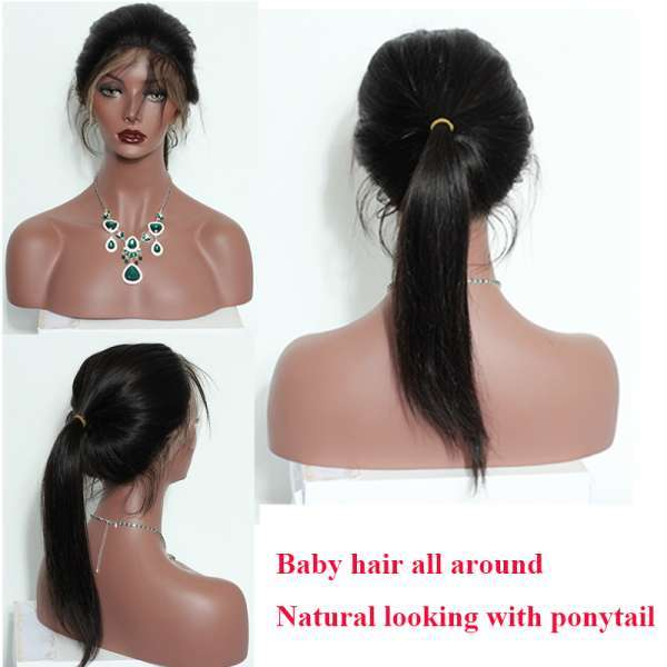 Wholesale realistic look natural black straight human hair 360 lace wigs