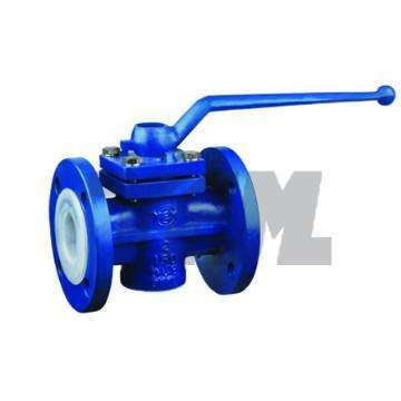 Manual PFA Lined through way plug valves for chemical Like