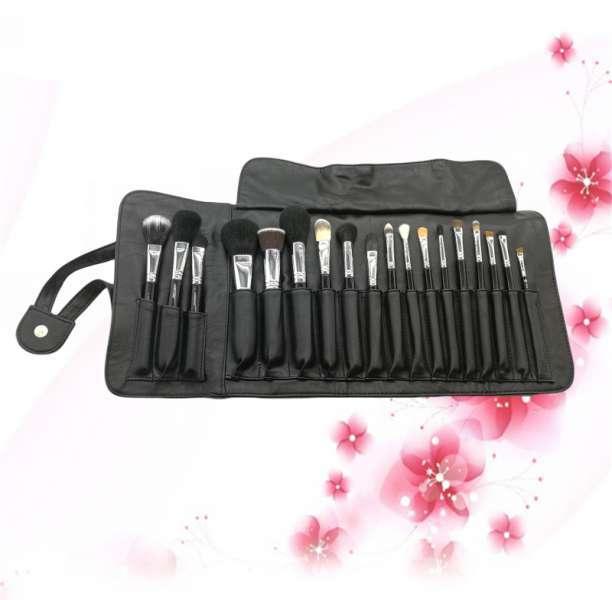 优质黄铜套圈天然毛发18PCS专业化妆刷套袋