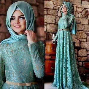 79cb516f4a ODM Muslim Evening Dresses A-line Long Sleeves Mint Green Lace Hijab  Islamic Dubai Abaya Kaftan Long Evening Gown Prom Dress