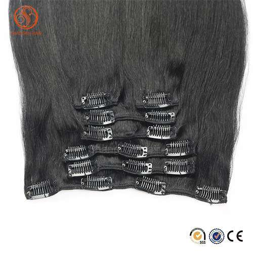 Wholesale Full head Brazilian Virgin Human Hair 220g remy clip in hair extension