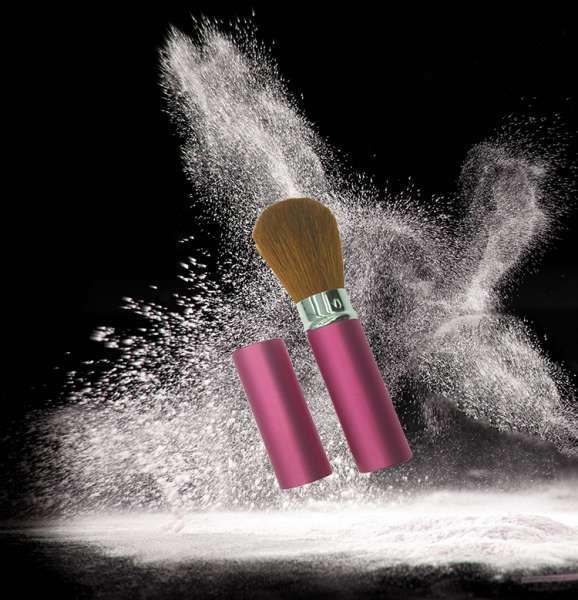 深圳工厂天然山羊毛发23毫米圆形铝壳彩妆可缩回刷