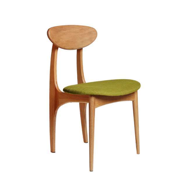 Mid Century Wooden Dining Chair Solid Rubber Wood With Upholstered
