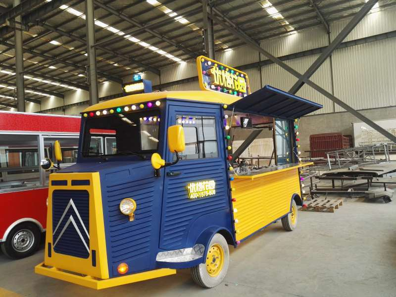 Mobile street food Fiber glass yellow Mobile food cart food bus