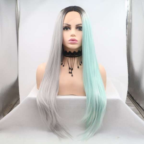 Fashion colorful two tone color silk straight synthetic front lace wig in stock
