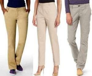 女式斜纹棉布裤