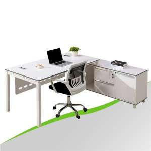 White Executive Office Desk with Side Cabinet