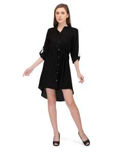 BLACK RAYON LADIES SHIRT DRESS WITH HIGH LOW HEMLINE