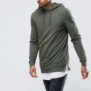 AHD071 Mens Long Plain Hooded Sweatshirt Side Slit Zipper Men's Fashion  Hoodie Sweatshirts